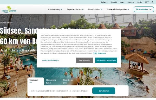 Vorschau von www.tropical-islands.de, Tropical Islands