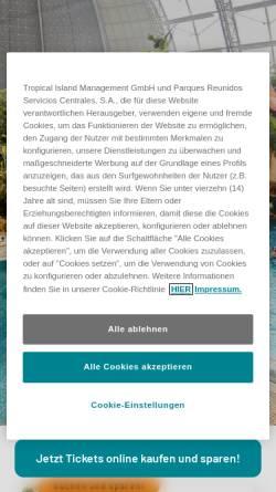 Vorschau der mobilen Webseite www.tropical-islands.de, Tropical Islands