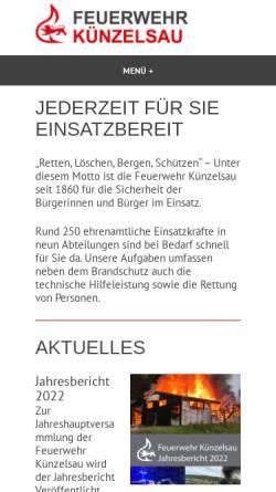 Vorschau der mobilen Webseite www.feuerwehr-kuenzelsau.de, Freiwillige Feuerwehr Künzelsau