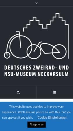 Vorschau der mobilen Webseite www.zweirad-museum.de, Deutsches Zweirad und NSU Museum