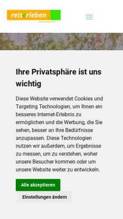 Vorschau der mobilen Webseite www.reise-erleben.de, Reise Erleben - Hildegunde Meyer-Tombült