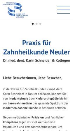 Vorschau der mobilen Webseite www.zahnarzt-neuler.de, Zahnarzt Dr. Schneider