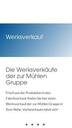 Vorschau der mobilen Webseite www.zurmuehlengruppe.de, Weimarer Wurstwaren GmbH