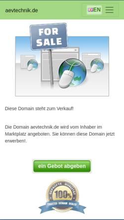 Vorschau der mobilen Webseite www.aevtechnik.de, AEV Technik Service & Handel GmbH