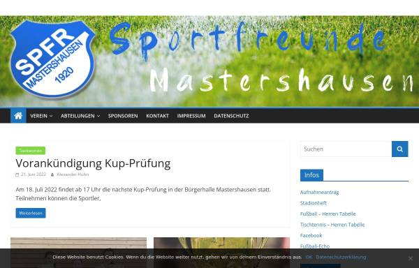 Vorschau von www.sportfreundemastershausen.de, Sportfreunde Mastershausen e.V.