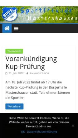 Vorschau der mobilen Webseite www.sportfreundemastershausen.de, Sportfreunde Mastershausen e.V.