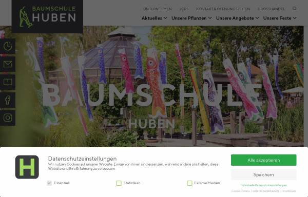 Vorschau von www.huben.de, Pflanzenhandel Huben GmbH