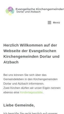 Vorschau der mobilen Webseite www.gemeinde-lebt.de, Evangelische Kirchengemeinden Dorlar und Atzbach