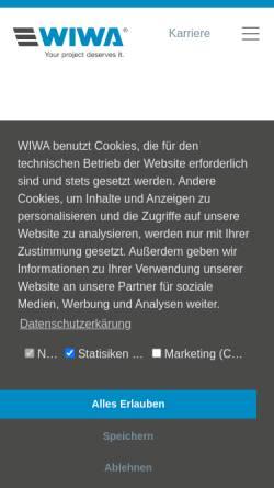 Vorschau der mobilen Webseite www.wiwa.de, WIWA Wilhelm Wagner GmbH & Co. Kg