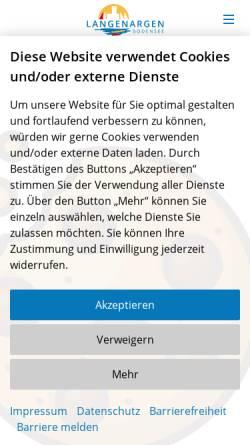 Vorschau der mobilen Webseite www.langenargen.de, Gemeinde Langenargen