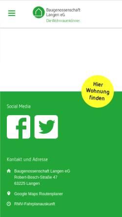 Vorschau der mobilen Webseite www.baugenossenschaft-langen.de, Baugenossenschaft Langen eG