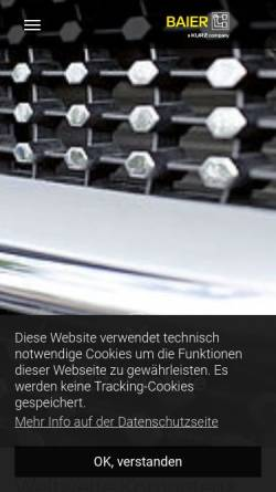 Vorschau der mobilen Webseite www.baier-praegetechnik.de, Baier GmbH & Co KG