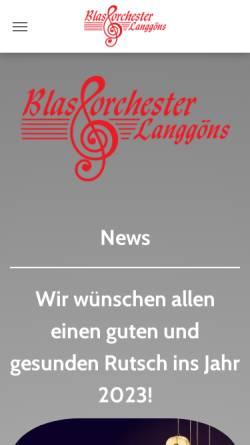 Vorschau der mobilen Webseite www.blasorchester-langgoens.de, Blasorchester Lang-Göns e.V.