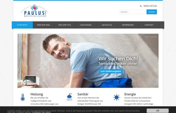 Vorschau von www.paulus-haustechnik.de, Paulus Bäder und Heizung GmbH