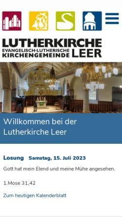 Vorschau der mobilen Webseite www.lutherkirche.de, Orgelbau-Förderkreis Lutherkirche Leer