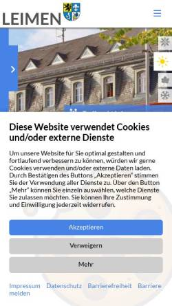 Vorschau der mobilen Webseite www.leimen.de, Stadt Leimen