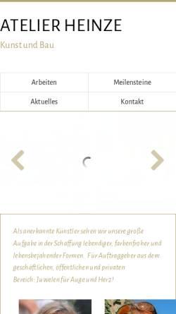 Vorschau der mobilen Webseite www.raj-heinze.de, Atelier Heinze - Kunst und Bau