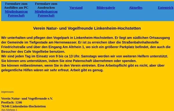 Vorschau von naturuvogelfreundeliho.de, Vogelpark Linkenheim