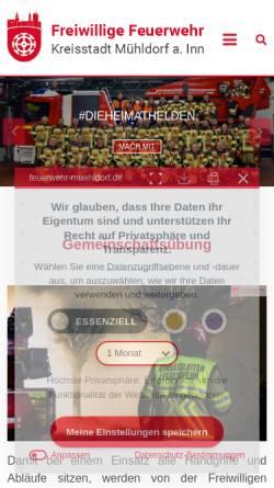 Vorschau der mobilen Webseite www.feuerwehr-muehldorf.de, Freiwillige Feuerwehr Mühldorf