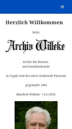 Vorschau der mobilen Webseite www.archiv-willeke.de, Archiv Willeke