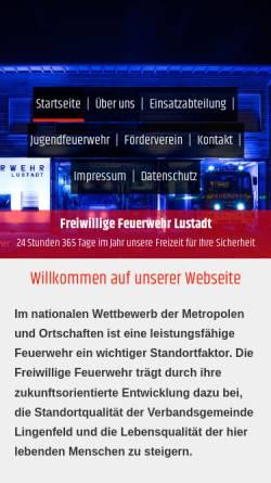 Vorschau der mobilen Webseite www.feuerwehr-lustadt.de, Freiwillige Feuerwehr Lustadt