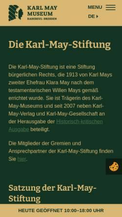 Vorschau der mobilen Webseite www.karl-may-stiftung.de, Karl-May-Stiftung
