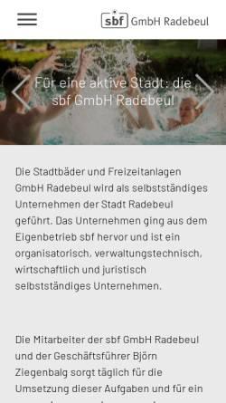 Vorschau der mobilen Webseite www.sport-in-radebeul.de, Stadtbäder und Freizeitanlagen Radebeul