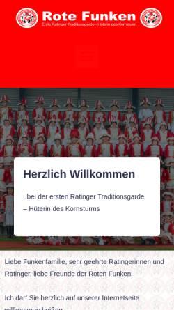 Vorschau der mobilen Webseite www.rotefunkenratingen.de, KG Stadtgarde Funken Rot-Wiss Ratingen e.V.