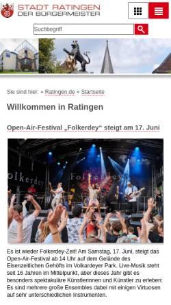 Vorschau der mobilen Webseite www.stadt-ratingen.de, Stadt Ratingen