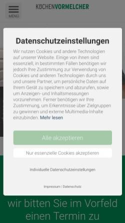 Vorschau der mobilen Webseite www.kuechen-vormelcher.de, Küchen-Vormelcher GmbH & Co. KG
