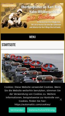 Vorschau der mobilen Webseite www.kartring-oberberg.de, Go-Kart-Ring Hahn / Wildbergerhütte
