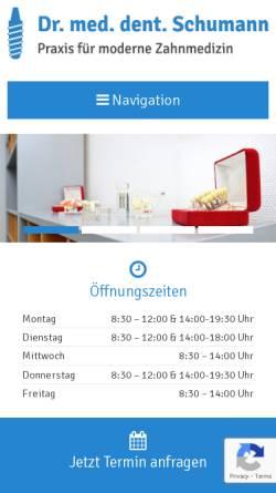 Vorschau der mobilen Webseite www.drschumann.de, Zahnarztpraxis Dr. Jens Schumann