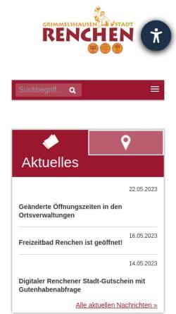 Vorschau der mobilen Webseite www.renchen.de, Stadt Renchen