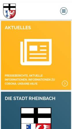 Vorschau der mobilen Webseite www.rheinbach.de, Stadt Rheinbach
