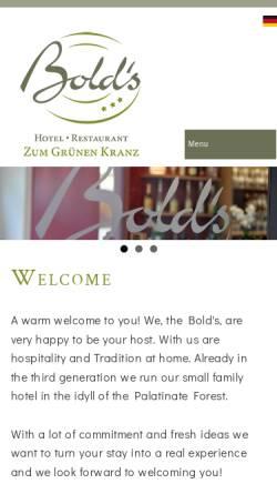 Vorschau der mobilen Webseite www.boldskranz.de, Bold's Hotel Restaurant Zum Grünen Kranz