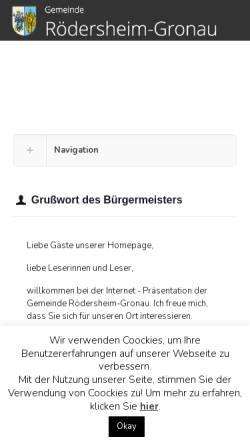 Vorschau der mobilen Webseite www.roedersheim-gronau.de, Gemeinde Rödersheim-Gronau