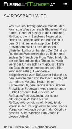 Vorschau der mobilen Webseite www.sv-rossbach-wied.de, Sport-Verein Roßbach e.V. 1968