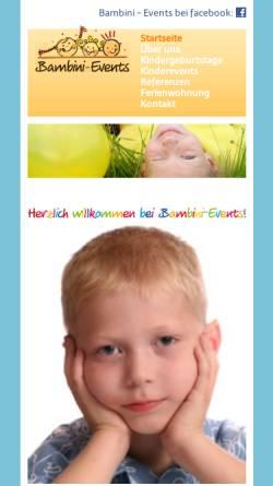 Vorschau der mobilen Webseite www.bambini-events.de, Bambini Events - Sandra Ohr