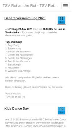 Vorschau der mobilen Webseite www.tsv-rot.de, TSV Rot an der Rot 1890 e. V.