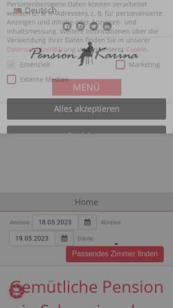 Vorschau der mobilen Webseite www.pension-schwerin.de, Pension Karina Schwerin