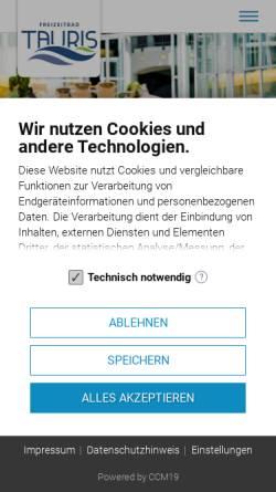 Vorschau der mobilen Webseite www.tauris.net, Freizeitbad Tauris