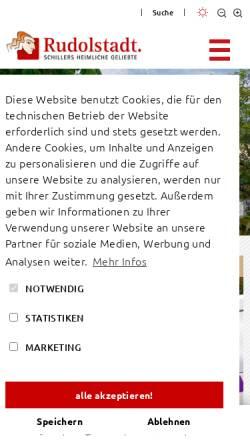 Vorschau der mobilen Webseite www.rudolstadt.de, Stadt Rudolstadt