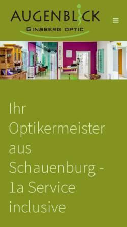 Vorschau der mobilen Webseite www.augenblick-ginsberg.de, Augenblick Ginsberg Optic