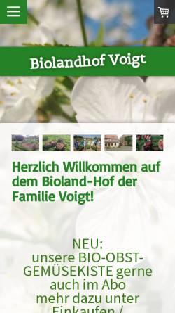 Vorschau der mobilen Webseite www.biolandhof-voigt.de, Bioland-Hof Familie Voigt