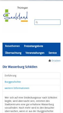 Vorschau der mobilen Webseite www.saaleland.de, Die Wasserburg zu Schkölen