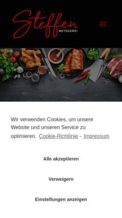 Vorschau der mobilen Webseite www.metzgerei-steffen.de, Metzgerei und Partyservice Steffen GbR
