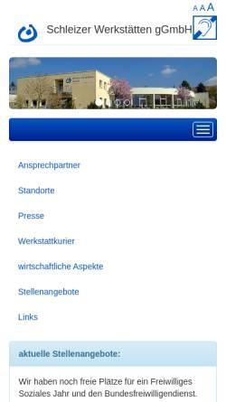Vorschau der mobilen Webseite www.schleizer-werkstaetten.de, Schleizer Werkstätten gGmbH