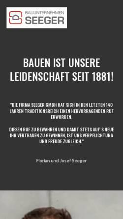 Vorschau der mobilen Webseite www.bau-seeger.de, Bauunternehmen Seeger GmbH