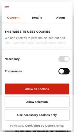 Vorschau der mobilen Webseite www.esta-absaugtechnik.de, ESTA Apparatebau GmbH & Co. KG
