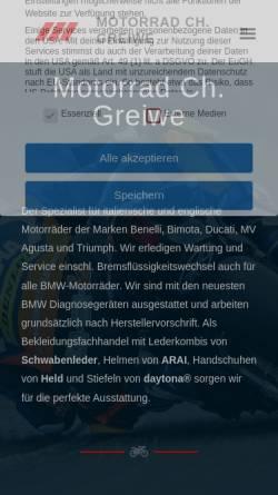 Vorschau der mobilen Webseite www.motorrad-greiwe.de, Motorrad Ch. Greiwe